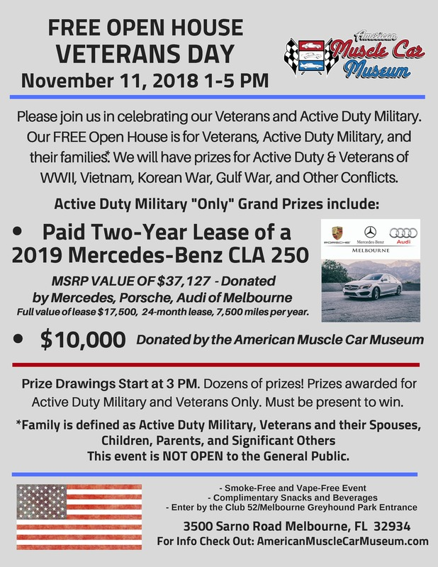 American Muscle Car Museum S Veterans Day Free Open House Military