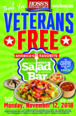Hoss's Family Steak & Sea Day After Veterans Day Free Soup, Salad and Dessert Bar