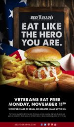 Beef O'Bradys Veterans Day FREE Meal (Purchase Required)