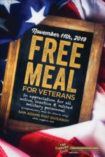 Tap House Grill Veterans Day Free Meal and Sam Adams Pint