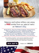 TooJay's Veterans Day Free Meal