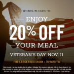 Brick House Tavern + Tap Military Veterans Discount