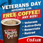 Country Fair (CoFair) FREE Coffee on Veterans Day