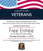 El Chico Cafe Veterans Day FREE Entree