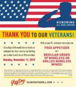 Glory Days Grill Veterans Day FREE Appetizer or Regular Wings