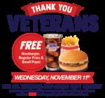 Hamburger Stand Veterans Day Free Hamburger Meal