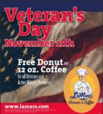 Lamar's Donuts Veterans Day FREE 12 oz Coffee and Donut