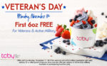 TCBY First 6oz FREE on Veterans Day