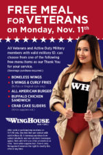 WingHouse Bar + Grill Veterans Day FREE Meal