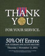 California Dreaming Veterans Day 50% Discount Off Full Menu